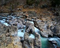 Rocky rapids IV. Rushing water through Johnson's Shut-ins state park in Missouri on the Black river Stock Images