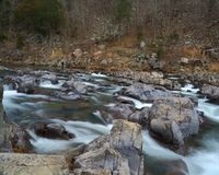 Rocky rapids. Rushing water through Johnson's Shut-ins state park in Missouri on the Black river Royalty Free Stock Photos