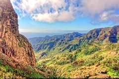Rocky Ravine in La Gomera. Rocky ravine in the mountains of La Gomera, Canary Islands, leading down towards the Ocean Stock Photography