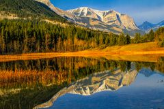 Rocky reflection in Middle Lake. Bow Valley Provincial Park, Alberta, Canada Stock Images