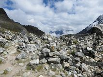 The rocky, remote and majestic terrain of the Salkantay Trek, h royalty free stock images