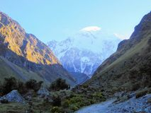 The rocky, remote and majestic terrain of the Salkantay Trek, high in the Andes mountains, on the way to Machu Picchu Royalty Free Stock Photos