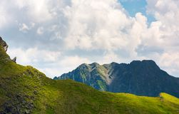 Rocky ridge behind the grassy hill under the cloud. Lovely mountainous scenery in summer royalty free stock image