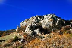 Rocky ridge Crimean mountains. Ridge of the Crimean mountains in autumn Royalty Free Stock Photo