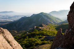 Rocky ridge Crimean mountains. In summer day Stock Photo