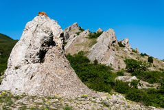 Rocky ridge Crimean mountains. In summer day Royalty Free Stock Image