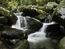 Rocky River. Water cascading over moss covered rocks in forest setting stock photo