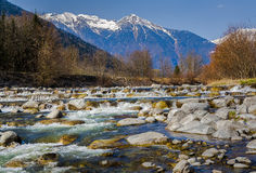 Rocky river in the Alps Stock Images