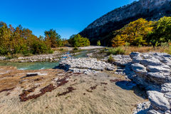 Rocky River Bed of the Crystal Clear Frio River in Texas Royalty Free Stock Images