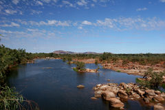 Rocky River Bed in the Outback towards Royalty Free Stock Photo