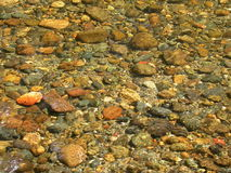 Rocky River Bottom. Shallow water flowing over a rocky river bottom creating an irregular abstract background stock photography