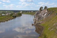 Rocky river Chusovaya in the village of Sloboda. Sverdlovsk region. Russia Stock Image