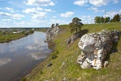 Rocky river Chusovaya in the village of Sloboda. Sverdlovsk region. Russia Royalty Free Stock Photography
