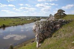 Rocky river Chusovaya in the village of Sloboda. Sverdlovsk region. Russia Stock Photography