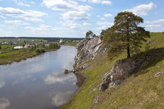 Rocky river Chusovaya in the village of Sloboda. Sverdlovsk region. Russia Royalty Free Stock Photos