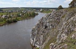 Rocky river Chusovaya in the village of Sloboda. Sverdlovsk region. Russia Stock Photos