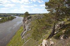 Rocky river Chusovaya in the village of Sloboda. Sverdlovsk region. Russia Stock Photo