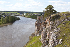 Rocky river Chusovaya in the village of Sloboda. Sverdlovsk region. Russia Royalty Free Stock Photo