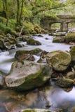 Rocky river in Dartmoor National Park. Rocky river in ancient woodland of Dartmoor National Park in Devon, UK stock images