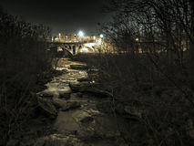 Rocky River. A long exposure nighttime shot from the berea metroparks royalty free stock photography