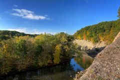 Rocky River Reservation Cleveland Ohio. A beautiful autumn scene at Fort Hill in the Rocky River Reservation that shows the vibrant colors of autumn trees royalty free stock images