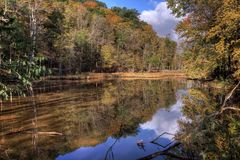 Rocky River Reservation Cleveland Ohio. A beautiful autumn scene at the Rocky River Reservation that shows the vibrant colors of autumn trees reflecting in the stock images