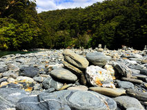 Rocky riverbed. With interesting round stones in a forest setting. New Zealand Stock Image
