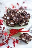 Rocky road fudge. With marshmallow and nuts Royalty Free Stock Photos