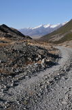 Rocky road path towards Snowing Mountain. Rocky road towards snowing Mt. Cook in New Zealand Royalty Free Stock Photo