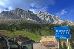 Rocky road in Xinjiang. Royalty Free Stock Photography