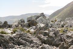 Rocks At Turakirae, Wainuiomata, New Zealand. Rocky and rough shoreline of NZ beach and reserve Royalty Free Stock Photos