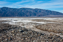 Rocky Salt Flats in Death Valley. National Park, California royalty free stock images