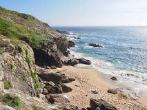 Beach of Finisterre - the real end of the Pilgrimway Camino de S stock image