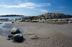 Rocky sandy beach landscape Royalty Free Stock Photo