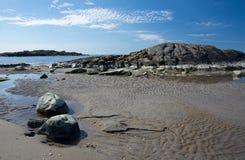 Rocky sandy beach landscape Royalty Free Stock Photo