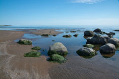 Rocky sandy beach landscape with rocks Royalty Free Stock Photo