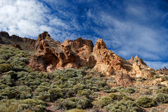 Rocky scenery near Mount Teide the volcano on Tenerife Stock Photos