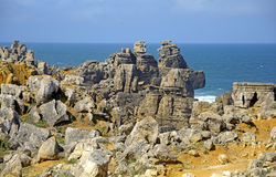 Rocky scenery in Peniche, Portugal Stock Photo