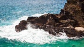 Rocky Scenic Seascape Oahu Hawaii Fotografie Stock Libere da Diritti