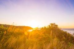 Rocky sea beach sunrise blue sky with grass. Phuket Thailand Royalty Free Stock Photo