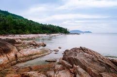Rocky Sea cape Khanom, Nakhon Si Thammarat, Thailand. Rocky Sea cape in rainy season in Khanom, Nakhon Si Thammarat, Thailand Stock Photos