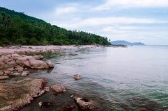 Rocky Sea cape Khanom, Nakhon Si Thammarat, Thailand. Rocky Sea cape in rainy season in Khanom, Nakhon Si Thammarat, Thailand Stock Images