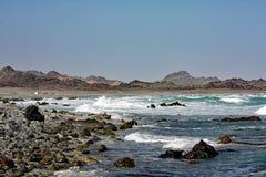 Rocky Sea Coast #2: Masirah ö, Oman Arkivfoton