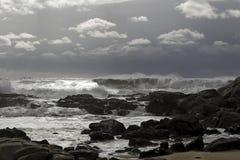 Rocky sea coast before storm Royalty Free Stock Photo