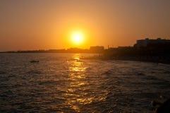 Rocky sea coast on sunset Stock Photography
