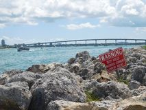 Rocky sea coast in the Tampa bay. Florida royalty free stock photo