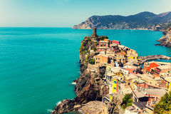 Rocky sea coast. Vernazza Village, Stock Photo