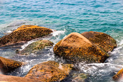 The rocky sea coast and water waves Stock Photos