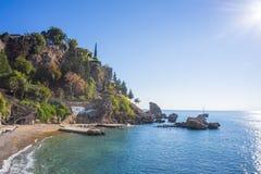 Rocky sea and island Stock Photo