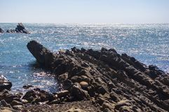 Rocky sea shore with pebble beach, waves with foam Stock Images